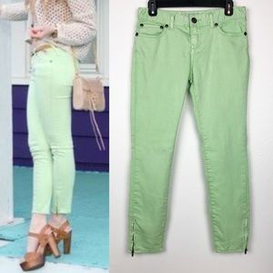 Free People Skinny Mint Moto Jeans